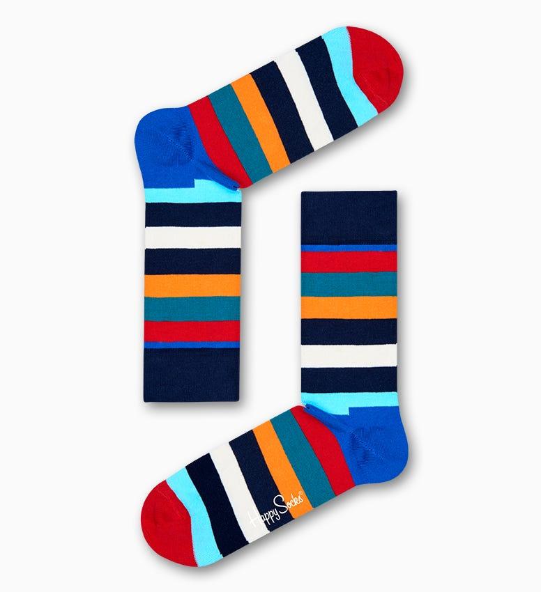 Blaue Multicolor Stripe Socken aus Baumwolle | Happy Socks