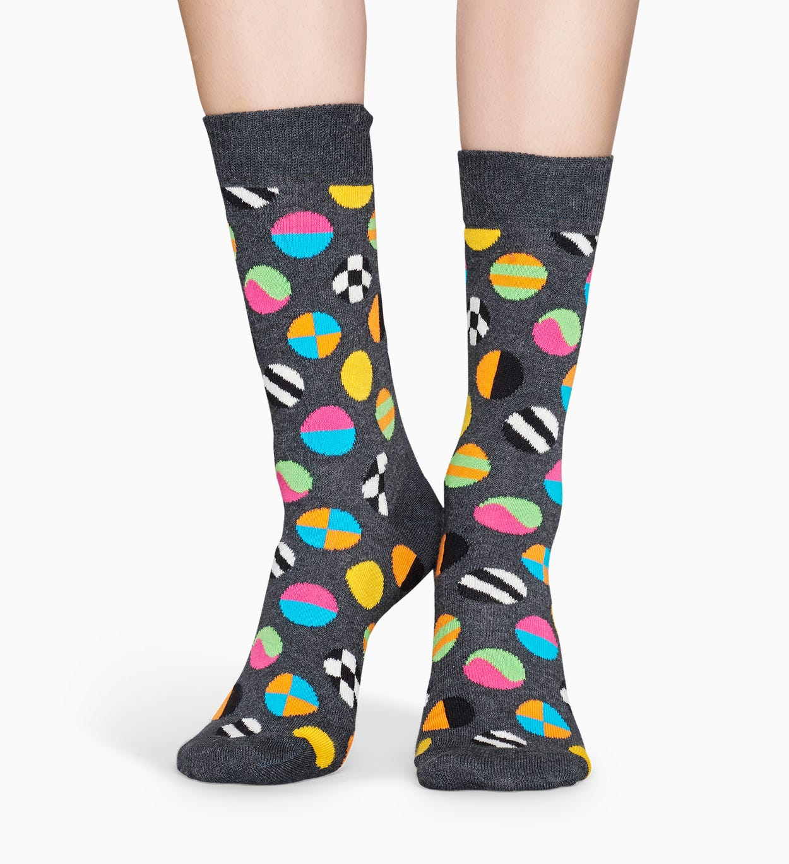 Gemusterte dunkelgraue Socken: Clashing Dot | Happy Socks