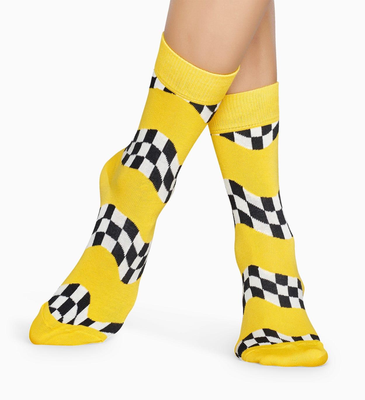 Gemusterte gelbe Socken: Race | Happy Socks