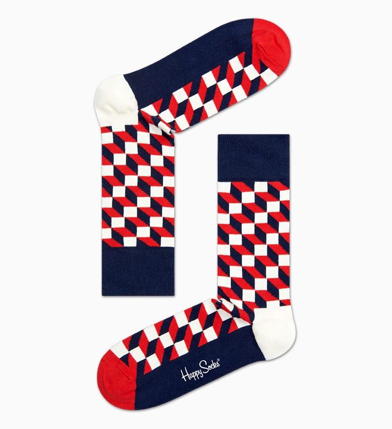 Navy   Rote Baumwollsocken: Filled Optic   Happy Socks