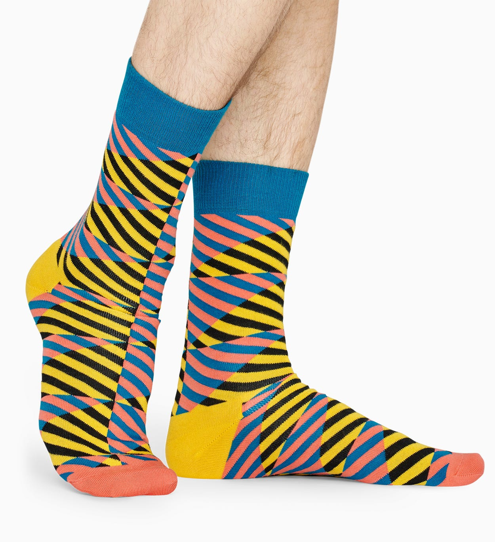 Gelber Baumwollsocken: Diagonal Stripe Muster   Happy Socks