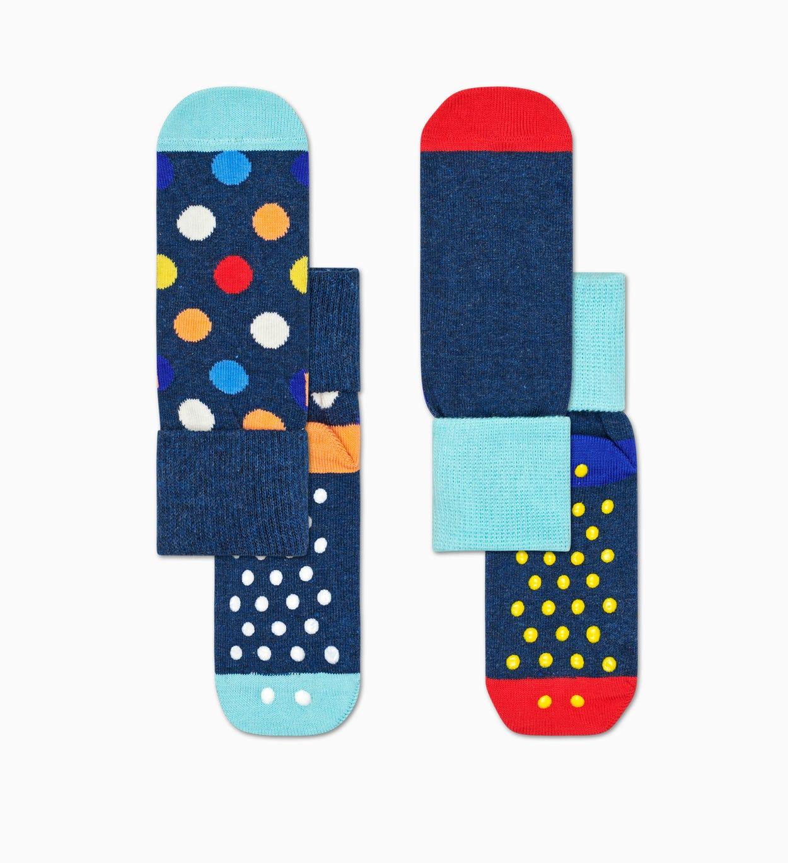 Blaue Anti-Rutsch Baby Socken: Big Dot   Happy Socks