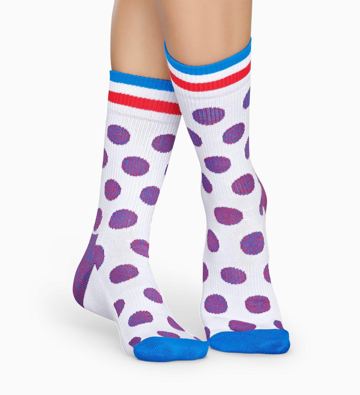 ホワイト スポーツソックス : ビッグ ドット - ATHLETIC | Happy Socks