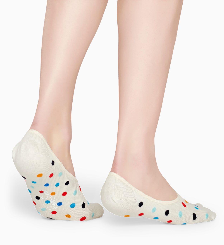 Weiße Füßlinge: Dot Muster   Happy Socks
