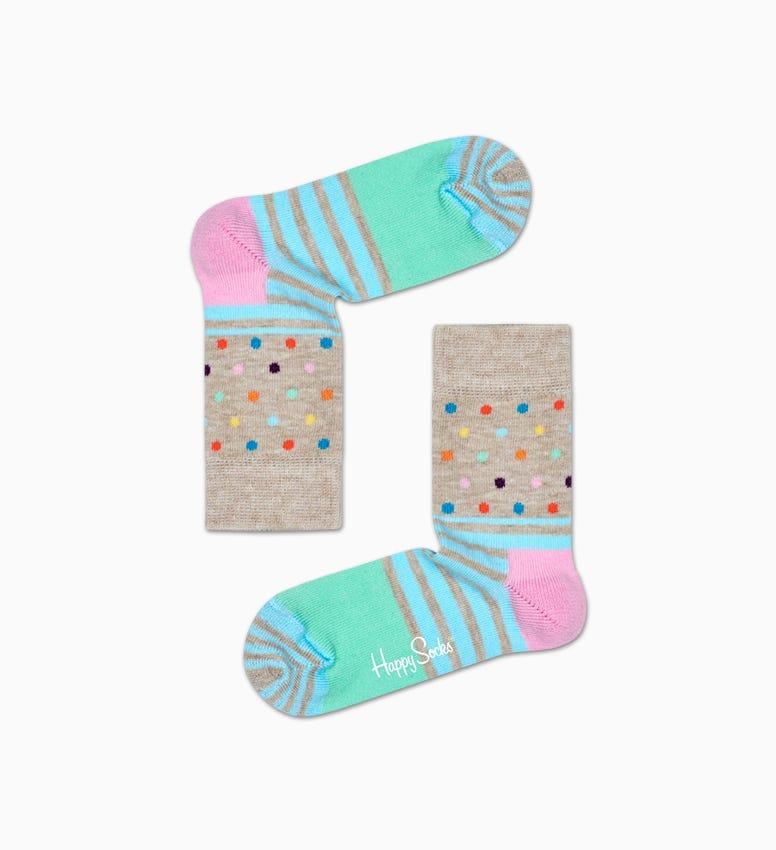 Graue Baby Socken: Stripe Dot   Happy Socks