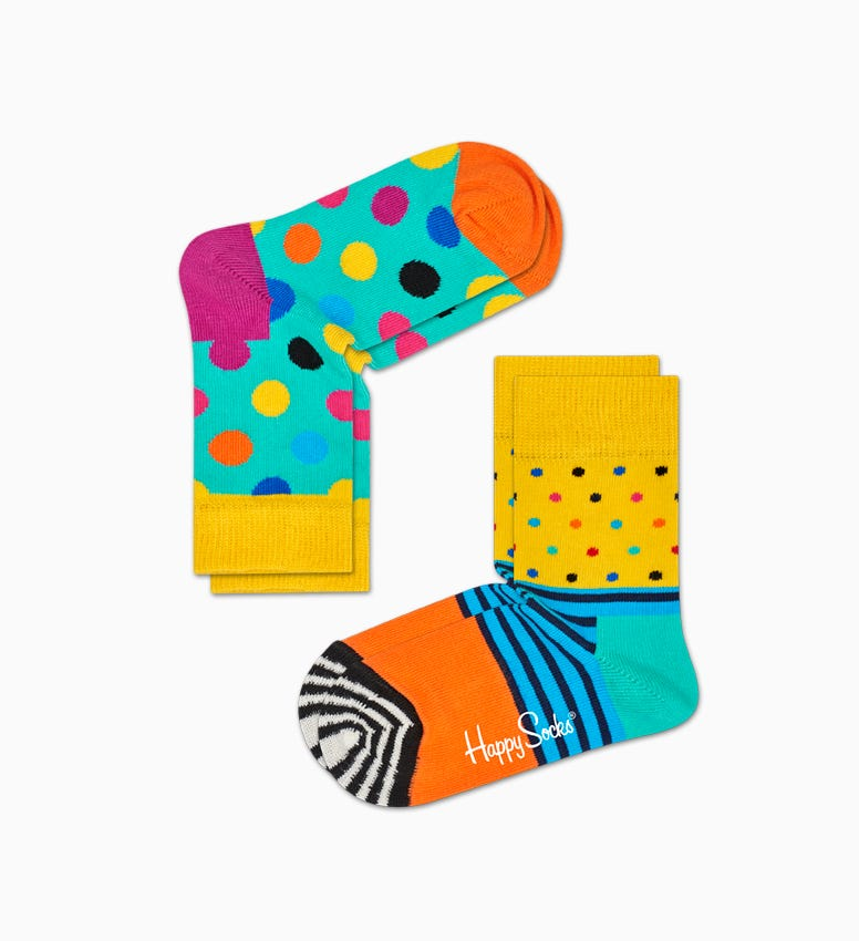 Yellow   Turquoise baby socks: Big Dot - 2pc | Happy Socks