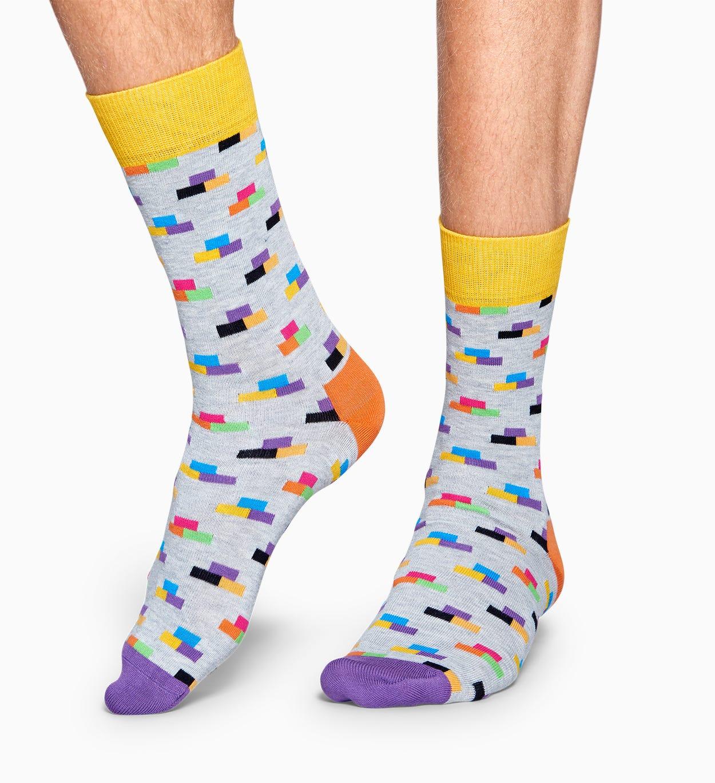 Hellgraue Baumwollsocken: Brick Design | Happy Socks