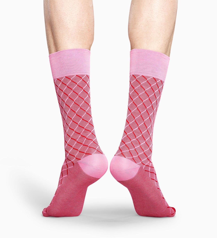 Pinke Anzugsocken: Square Optic - Dressed   Happy Socks