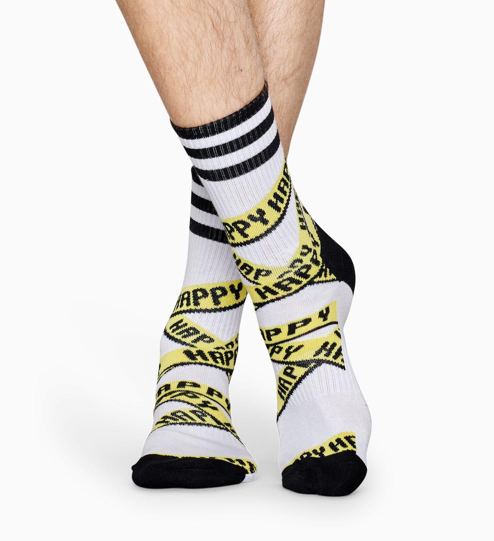 Weiße Sportsocken: Ribbon - ATHLETIC   Happy Socks