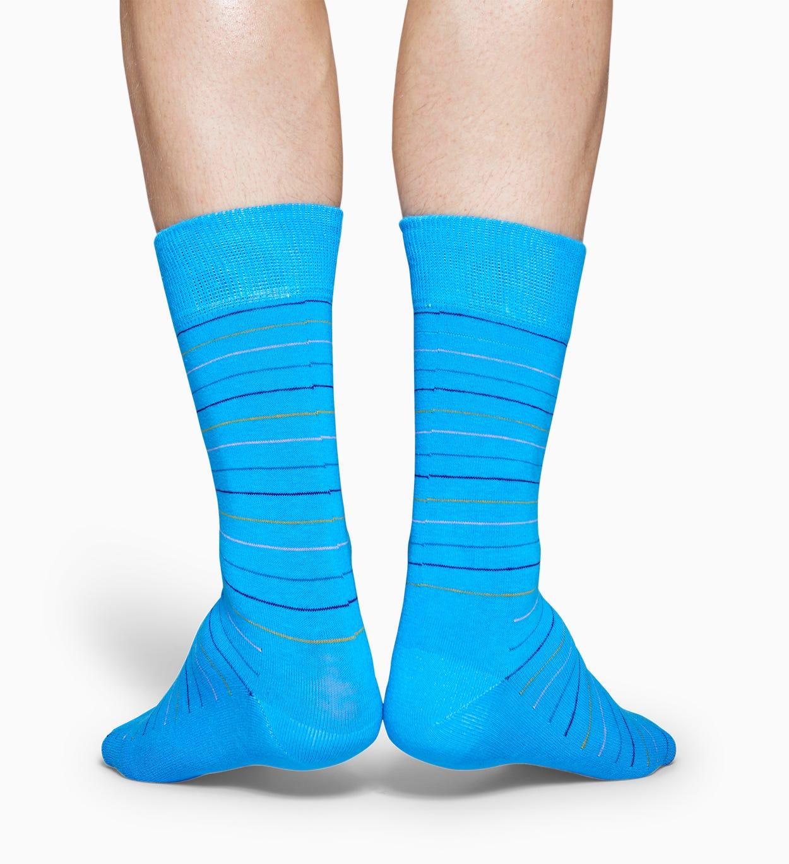 Blaue Baumwollsocken: Thin Stripe Design   Happy Socks