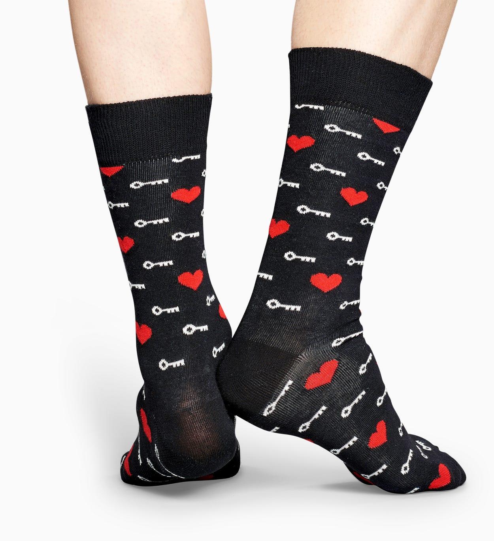 Schwarze Socken: Key To My Heart   Happy Socks
