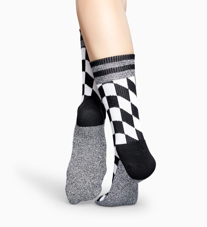 Schwarz-weiße Sportsocken: Flag - Athletic   Happy Socks