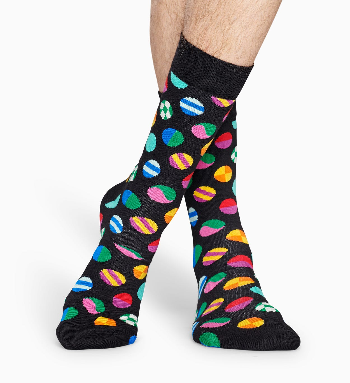Gemusterte schwarze Socken: Clashing Dot | Happy Socks