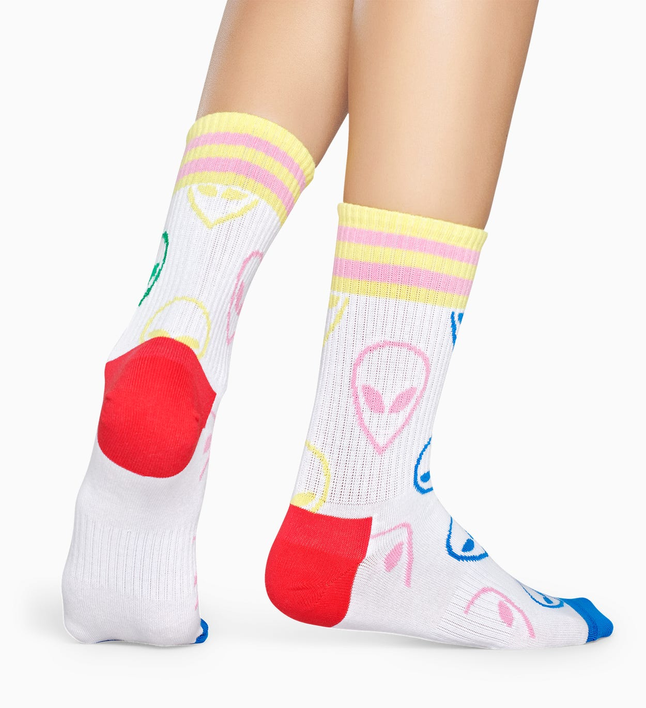 Weiße Sportsocken: Alien - ATHLETIC | Happy Socks