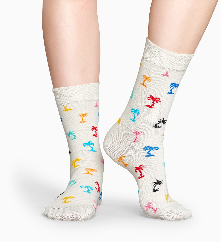 Weiße Socken: Palm Beach   Happy Socks