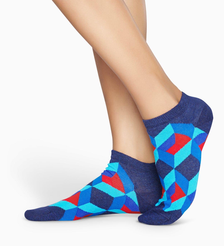 Blaue Low Socken: Optic Square | Happy Socks
