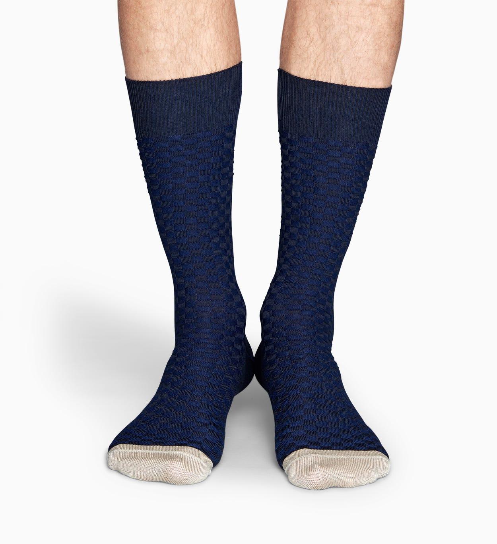 Dunkelblaue Anzugsocken: Moss Knit - Dressed   Happy Socks