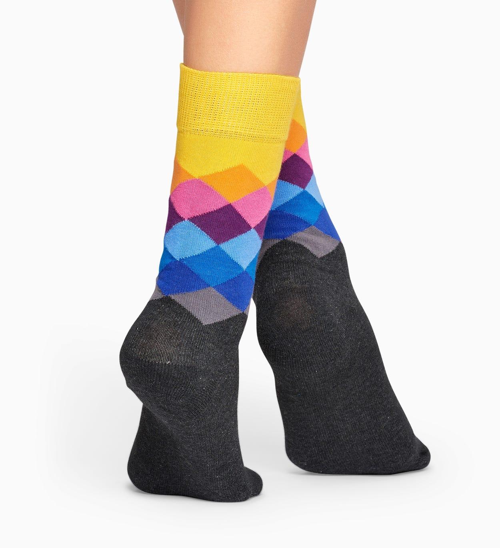ダークグリーン コットンソックス: Faded Diamond 柄   Happy Socks