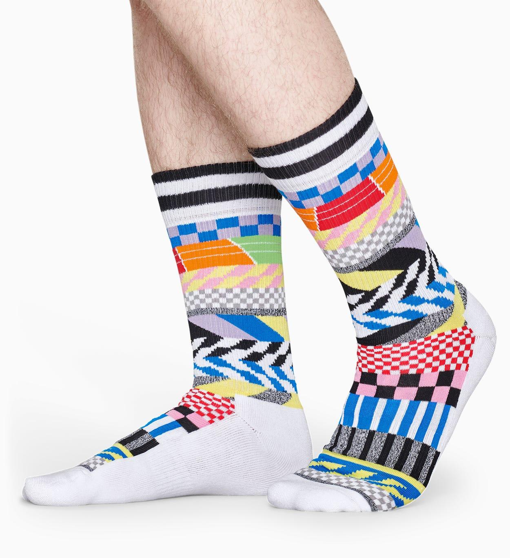 Weiße Sportsocken: Checked Stripe - ATHLETIC   Happy Socks