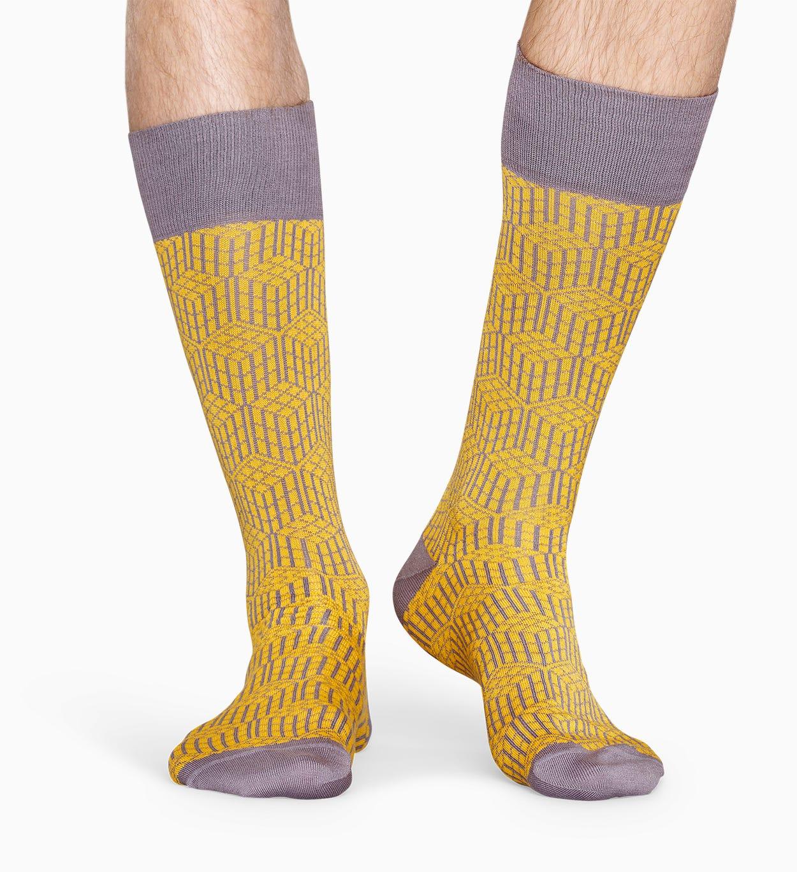 Gelbe Anzugsocken: Geometric - Dressed | Happy Socks