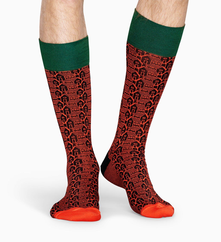 Orange Anzugsocken: Architektur - Dressed   Happy Socks
