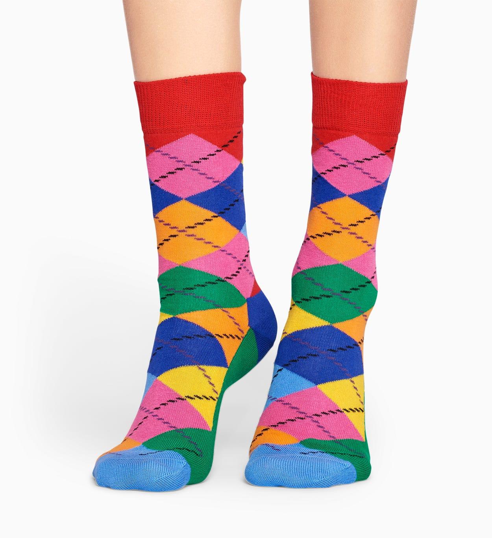 グリーン  レッド コットンソックス: アーガイル 柄 | Happy Socks