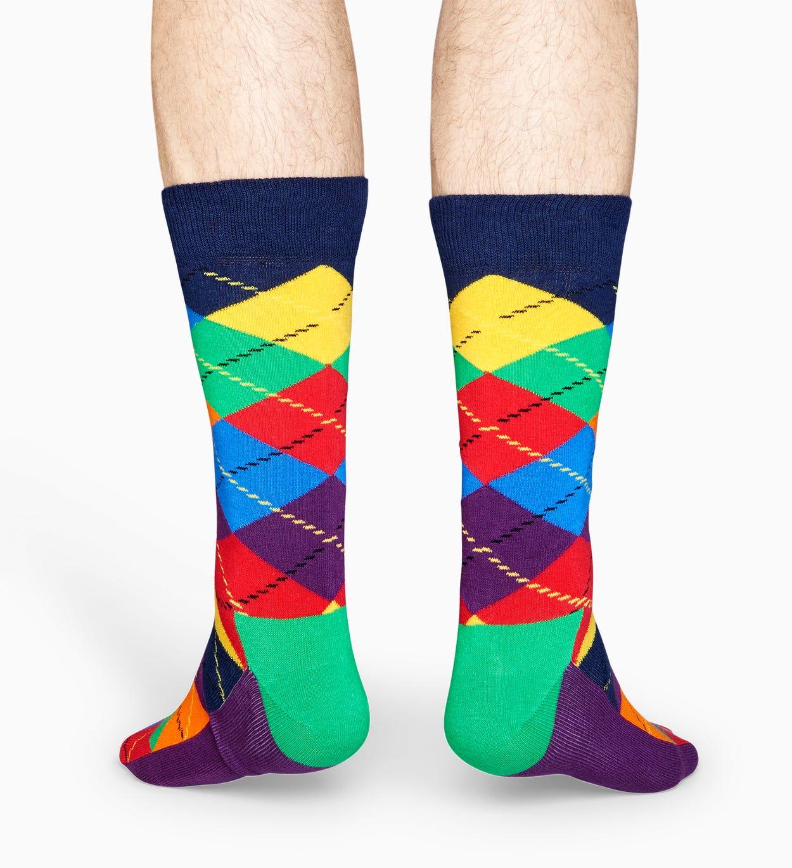 Lila   Grüne Baumwollsocken: Argyle Design   Happy Socks