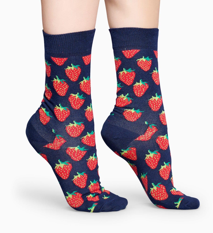 Dunkelblaue Erdbeer Socken: Strawberry   Happy Socks