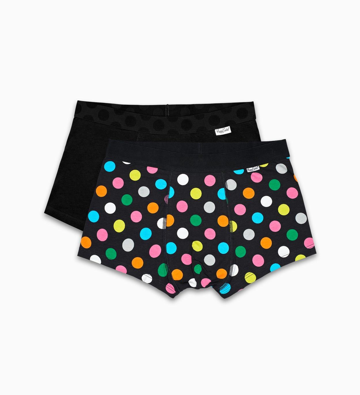 Schwarze Herrenunterwäsche 2-Pack: Big Dot Trunk | Happy Socks