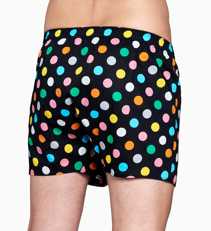 Schwarze Herren Unterwäsche: Big Dot Boxer | Happy Socks