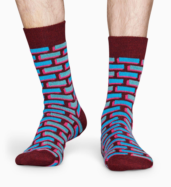 Blaue Wollsocken: Ziegel   Happy Socks