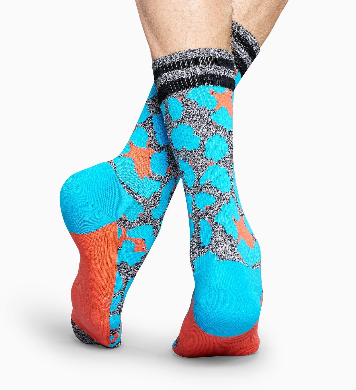 Graue Sportsocken: Leopard - Athletic   Happy Socks