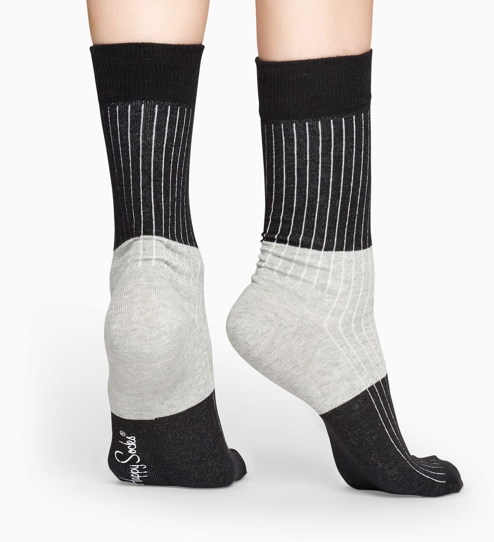 Black socks: Block Rib pattern | Happy Socks