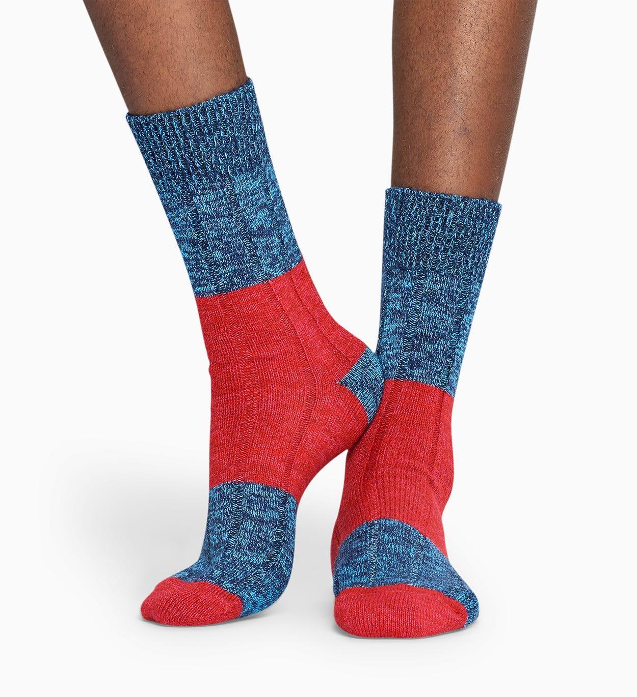 Blue   Red wool socks: Blocked Rib pattern   Happy Socks