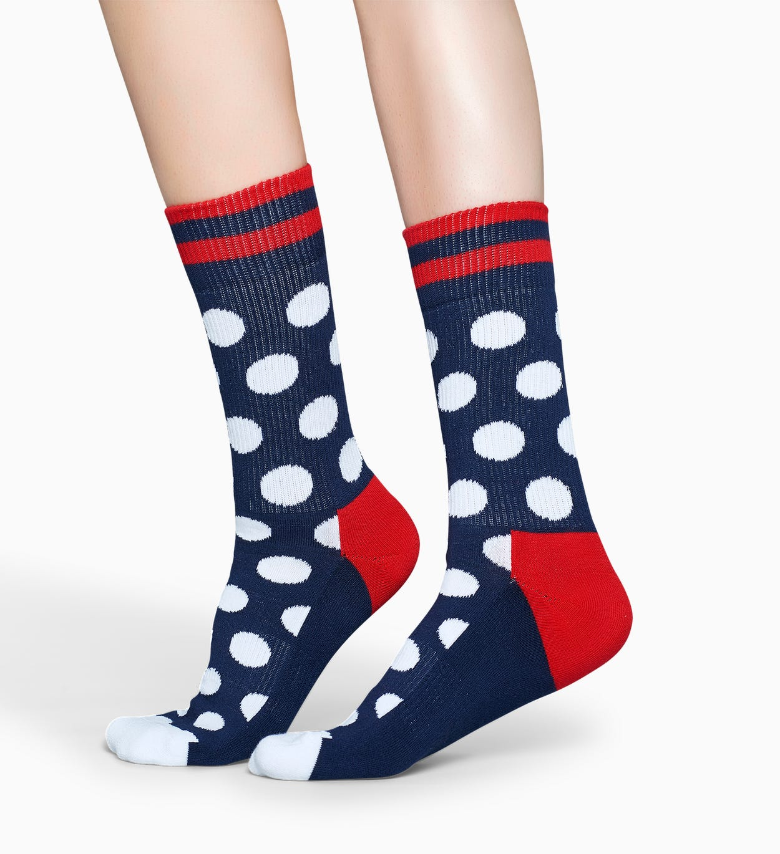 Sportsocken in Rot   Blau: Big Dot - Athletic | Happy Socks