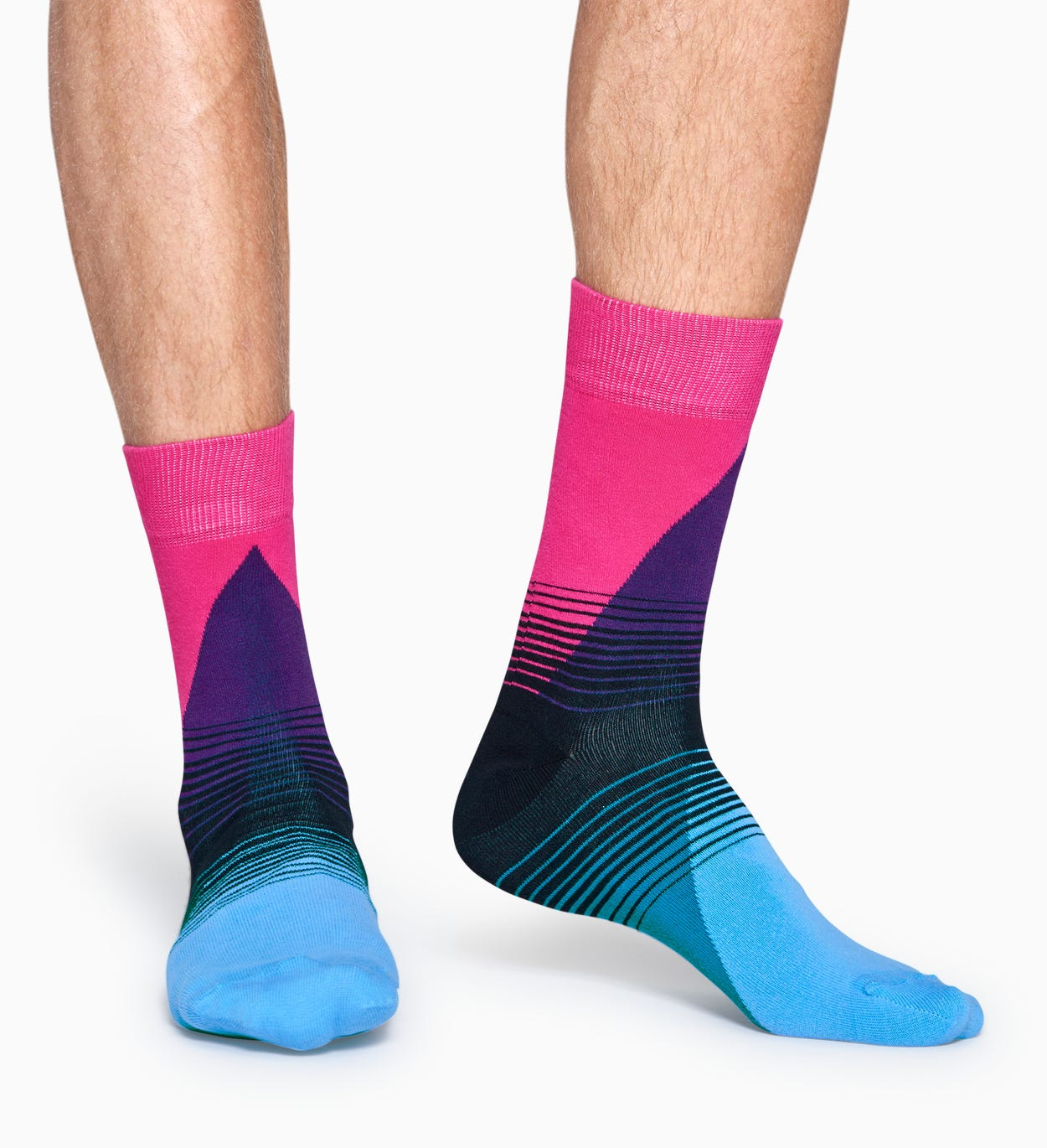 Pinke   Blaue Baumwollsocken: 80's Fade Design | Happy Socks