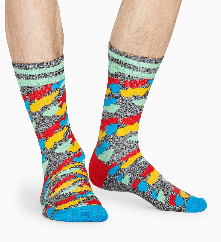 Grey, Red Socken: Cloud - ATHLETIC   Happy Socks