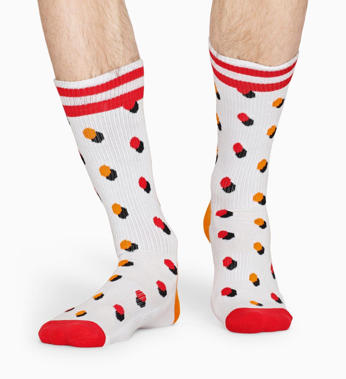 Weiße, rote Socken: Dot - ATHLETIC | Happy Socks