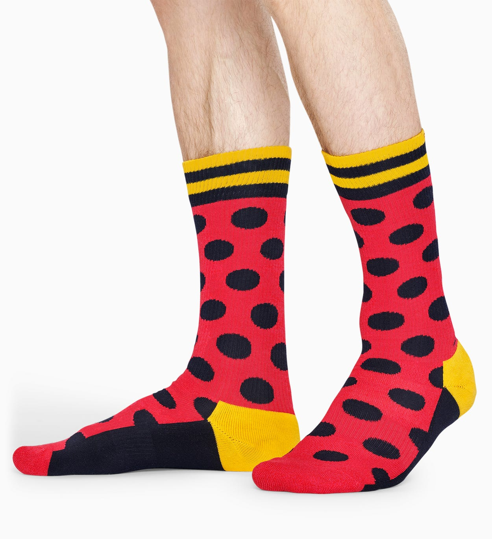 Pinke, schwarze Socken: Big Dot - ATHLETIC   Happy Socks