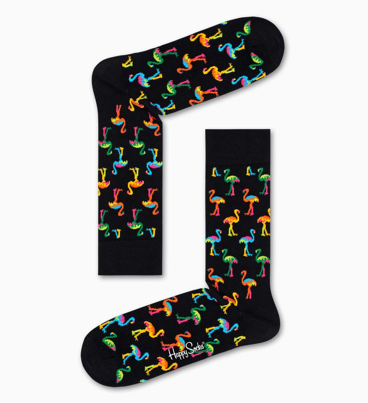 Flamingo Socken, Schwarz | Happy Socks