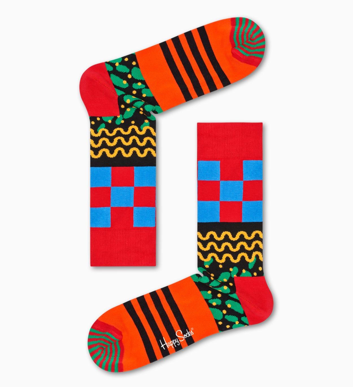 Orange   Red socks: Mix Max pattern   Happy Socks