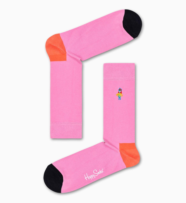 Embroidery Hula Dancer Socken, Pink   Happy Socks