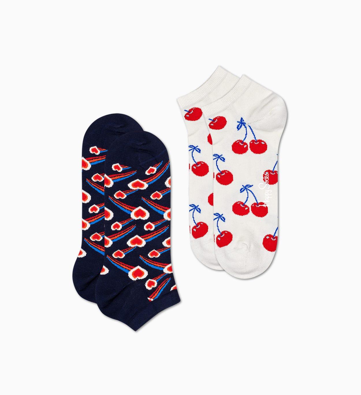 2er-Pack Shooting Heart Sneakersocken, Schwarz   Happy Socks