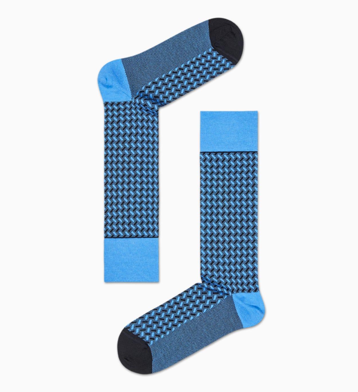 Blaue Anzugsocken: Basket Weave - Dressed   Happy Socks