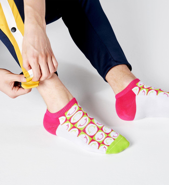 Happy Pique Cuff Sneakersocken, Weiß - ATHLETIC   Happy Socks