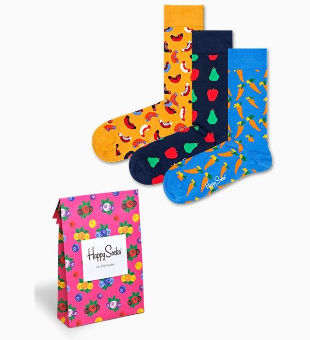 Picknick 3-er Pack: Carrot, Hotdog und Fruit Socken I Happy Socks