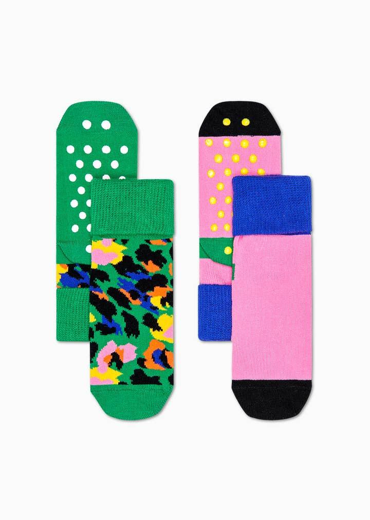 Kids Leopard Anti-Slip Socks 2-Pack