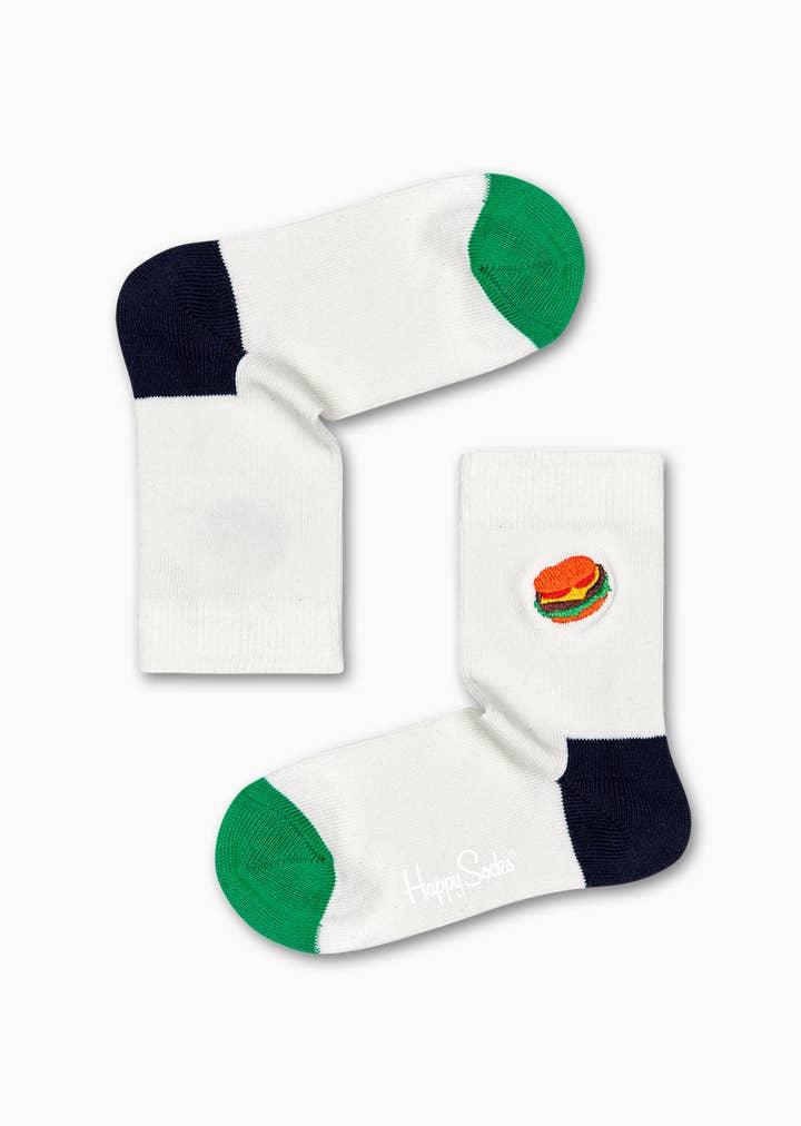 Kids Burger Embroidery Sock