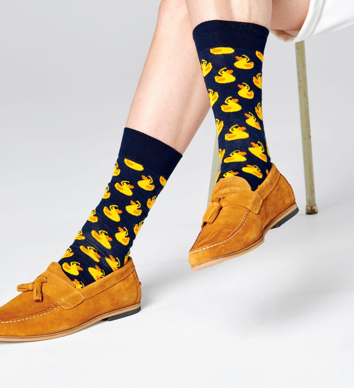 Gemusterte marineblaue Socken: Gummiente | Happy Socks