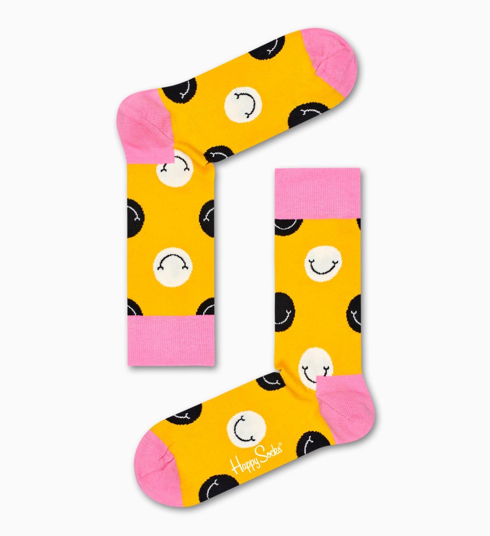 Keltaiset Smile puuvillasukat | Happy Socks